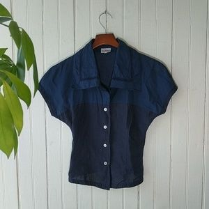 Byblos Made in Italy linen navy two tone shirt 40